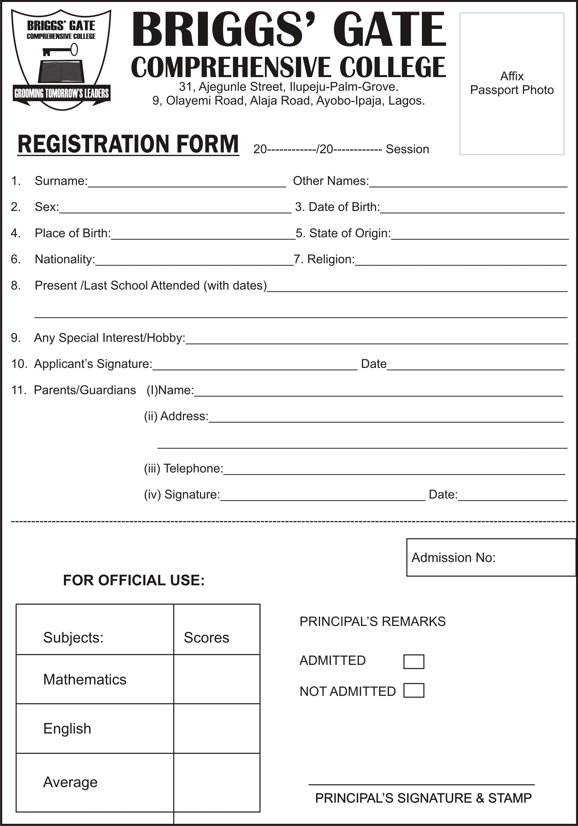 Briggsu0027 Gate Schools  Admission Form School